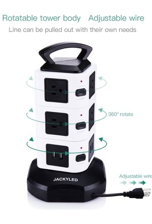 JACKYLED 4.4 out of 5 stars 1,324 Reviews Power Strip Tower JACKYLED Surge Protector Electric Charging Station 3000W 13A 16AWG 10 Outlet Plugs with for Sale in Holly Springs, NC