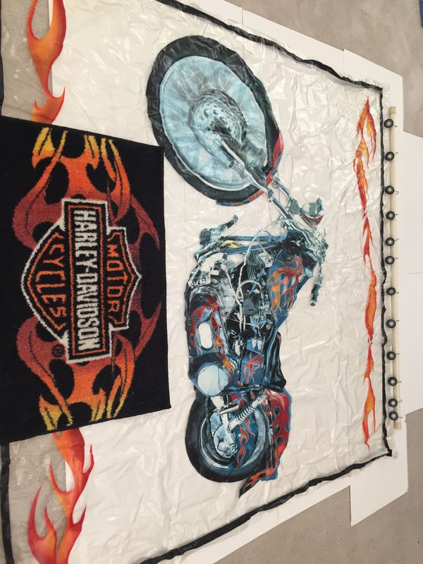 Harley Davidson Shower Curtain Rug 12 Wheel Hooks Rod