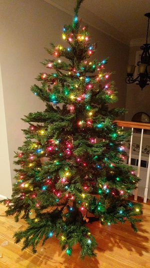 Trim A Home 6 1/2 ft Pre Lit Cedar Pine Christmas Tree ~ Revolving Tree Stand for Sale in Holly Springs, NC