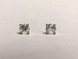 Beautiful 1 2ctw Old European Cut Diamond Stud Earrings In White Gold For