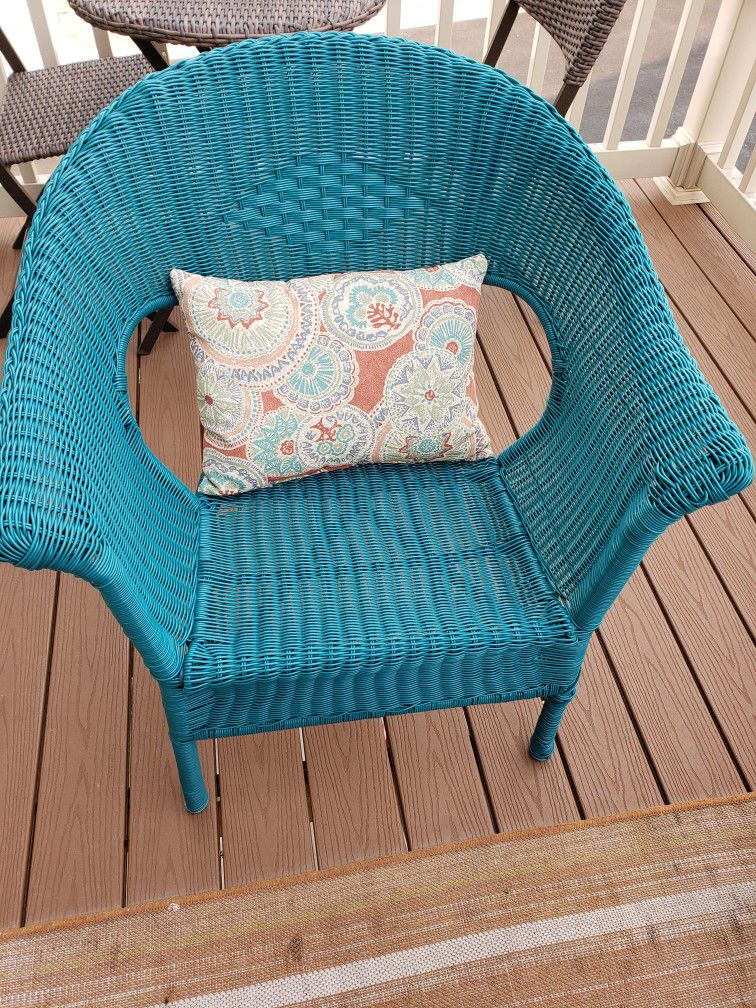 Teal Wicker Chair
