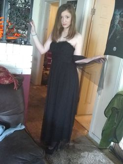 Vera wang size 2 black halter with long sheer now and over fabric Thumbnail