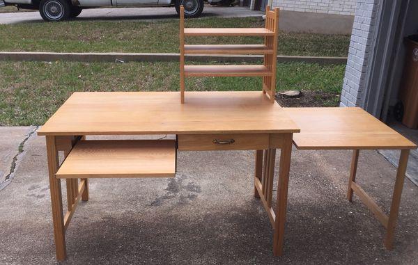 Mission Style Furniture Desk W Printer Table Shelf Unit