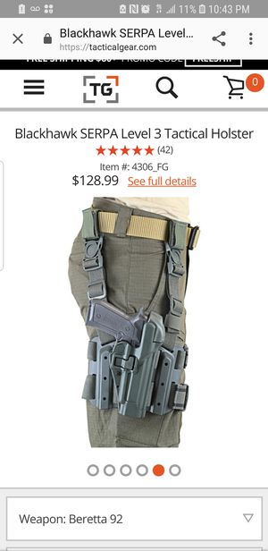 Blackhawk Coyote Drop Leg SERPA Holster C1370 Beretta 92/96 Paddle for Sale in Gloucester City, NJ