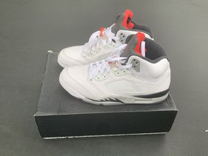 "Photo Jordan 5 ""Cement White"" with box size 11.5 $120 OBO"