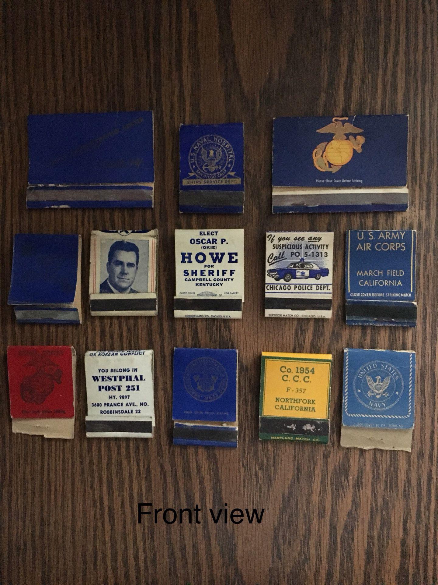 Vintage matchbooks Police sheriffs U.S. Navy