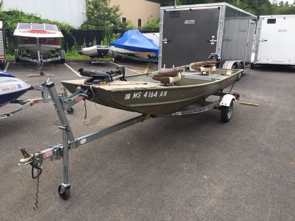 2006 lowe 14� aluminum boat with 9.9 4 stroke motor with 2006 trailer will trade