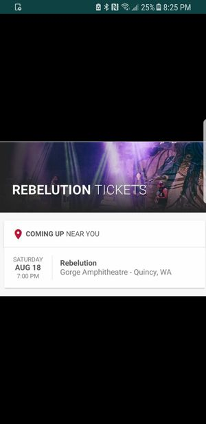 Rebelution tickets! I've got two tickets, I can't make the show unfortunately. Should be a great time at the a great venue. for Sale in Tacoma, WA
