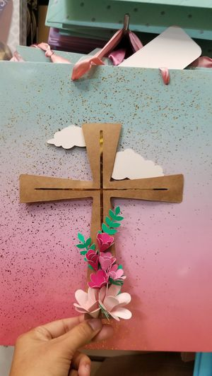 Cardstock Cross with Flowers Cake Topper or Decor for Sale in Los Angeles, CA