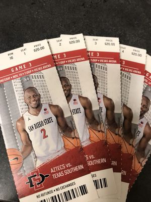5 SDSU Men's Basketball Tickets 11/14 Game for Sale in San Diego, CA