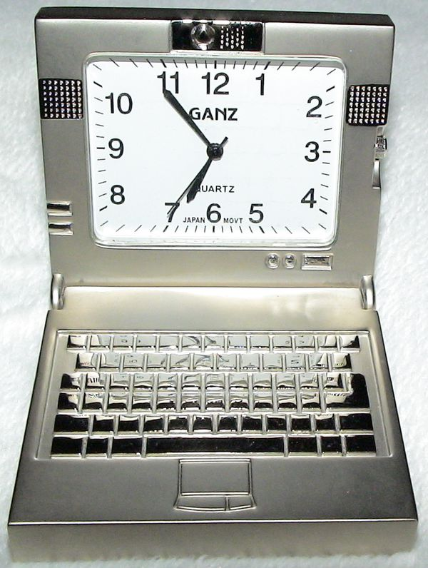 Ganz Quartz Steel Laptop Computer Silver Miniature Analog Clock -- Used for  Sale in Columbia Station, OH - OfferUp