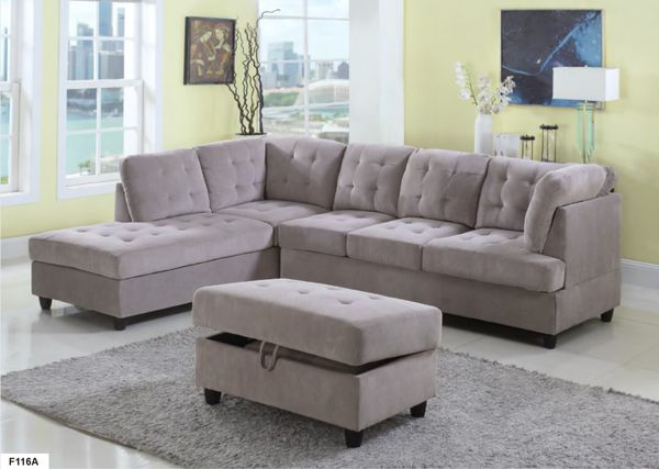 New Gray Corduroy Sectional Sofa With Storage Ottoman For In Seatac Wa Offerup