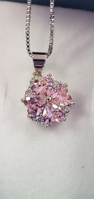 Photo 925 Sterling Silver Necklace, Natural Pink Zircon Stones, 18 inch Chain