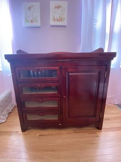 Cherrywood dresser with cabinet and changing top Thumbnail