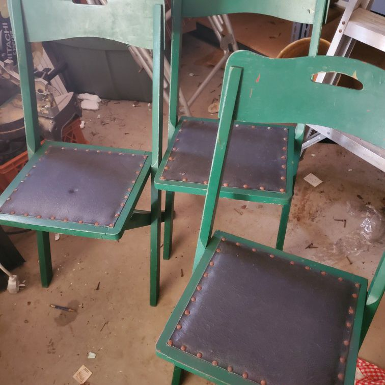 3 Vintage Folding Chairs.