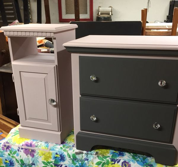 Sold As A Set Nightstand And Cabinet In Dark Gray Pink For Fort Wayne Offerup