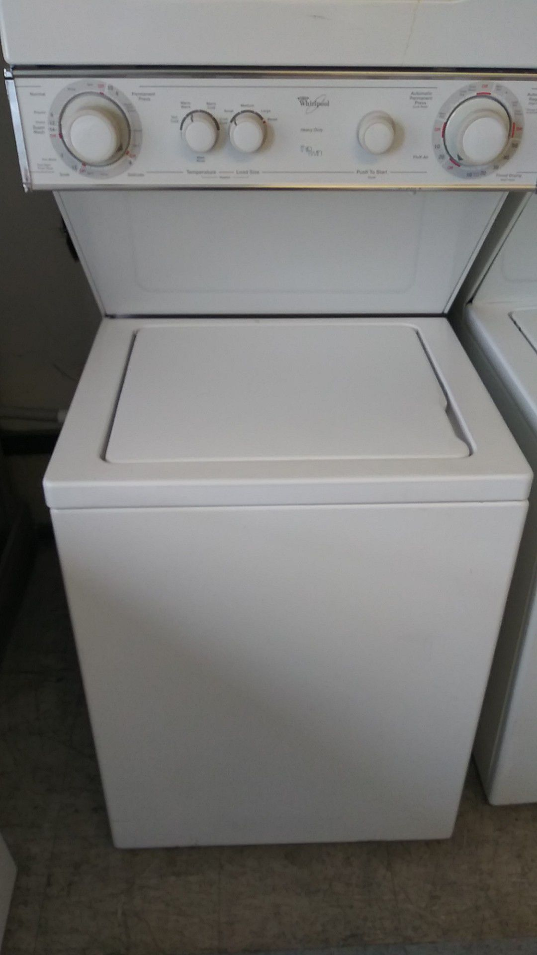 Whirlpool Stackable washer and gas dryer