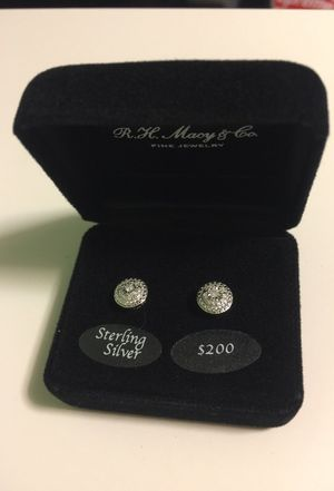 Diamond Sterling Silver Earrings (brand new) for Sale in Silver Spring, MD