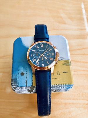 Fossil Men's Rose Gold Dial Navy Leather Strap Watch for Sale in Arlington, VA