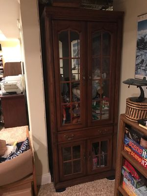 China hutch with mirrored back and light for Sale in Charlottesville, VA