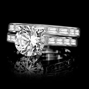 2CT intensely Radiant Round center Diamond veneer® wedding/engagement Sterling Silver ring 635R71628 for Sale in Coronado, CA
