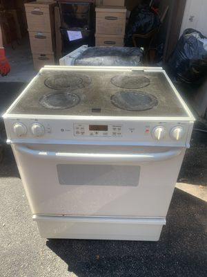 Photo GE electric stove cooktop range off white ivory used