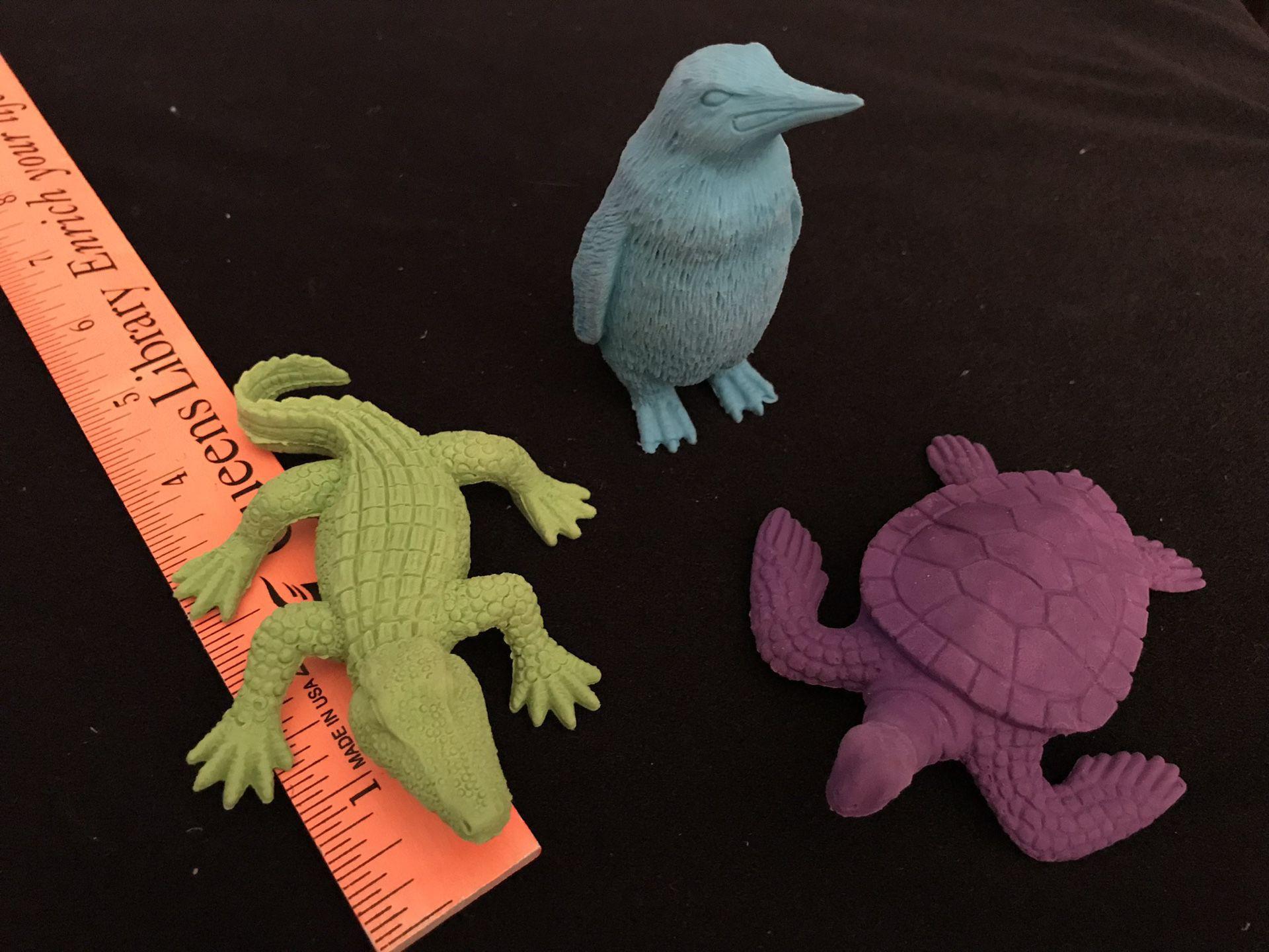 Set of 3 New Animal Erasers