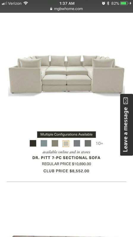 Mitchell gold and Bob Williams sectional