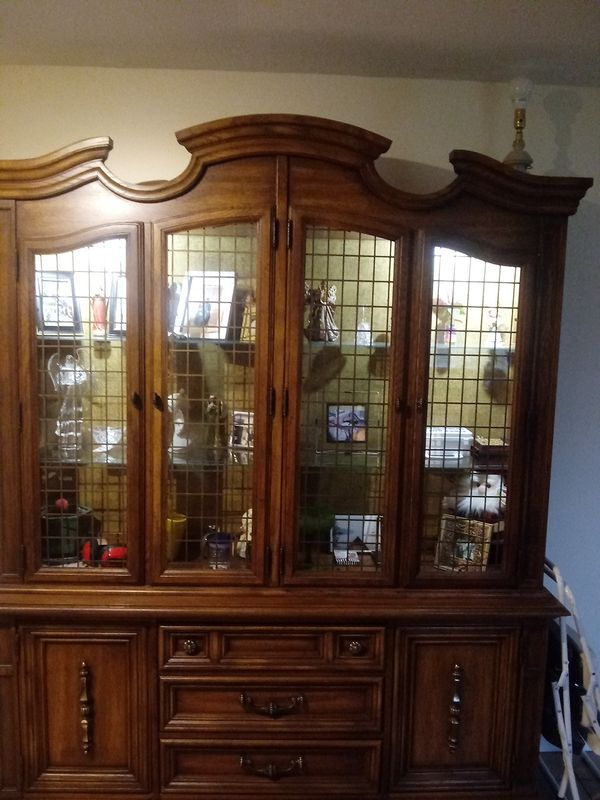 Oakwood china cabinet beveled glass shelves and two lights ...