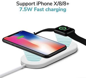 Wireless Watch Charger,Phone Wireless Charger,Qi Wireless Charging Pad Stand,2-in-1 Wireless Fast Charger for Apple Watch Series 3/2/1 & iPhone X/8/8 for Sale in Falls Church, VA
