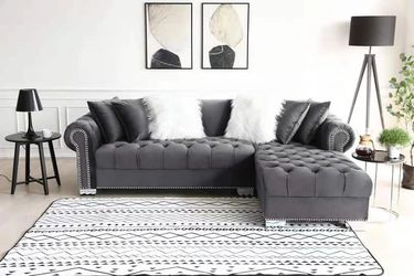 SAME DAY DELIVERY🚚BRAND NEW GRAY VELVET RAF SECTIONAL SOFA, COUCH ☆ 39 DOWN PAYMENT. Thumbnail