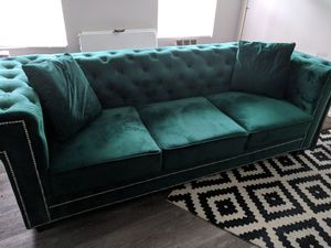 Green Velvet Sofa Couch for Sale in Salem, MA