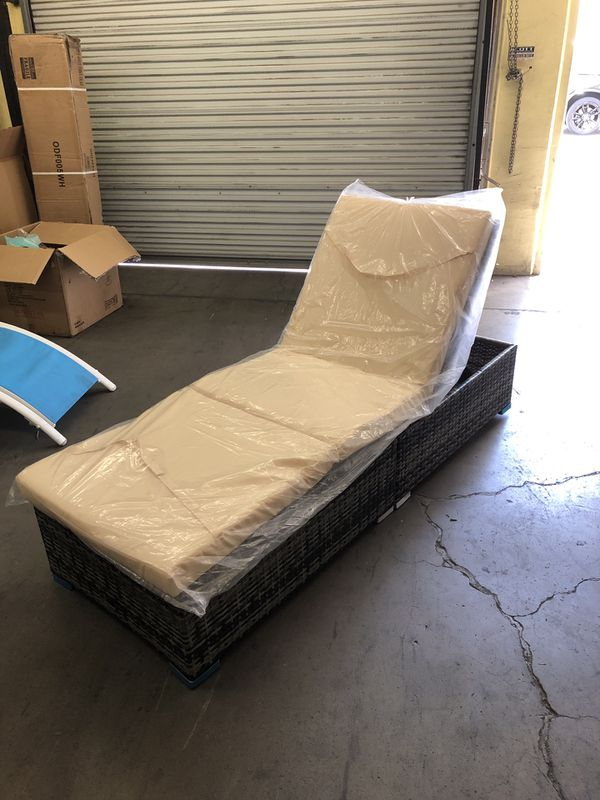 Brand New Wicker Chaise Lounge Chair Bed Storage Recline