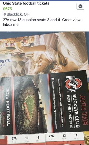 OSU vs The team up north football tickets for Sale in Blacklick, OH