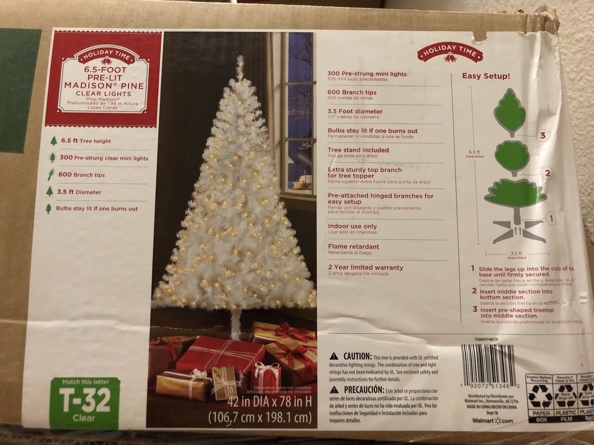 Like-New 6.5ft Pre Lit Madison Pine Clear Lights Christmas Tree Retail $40