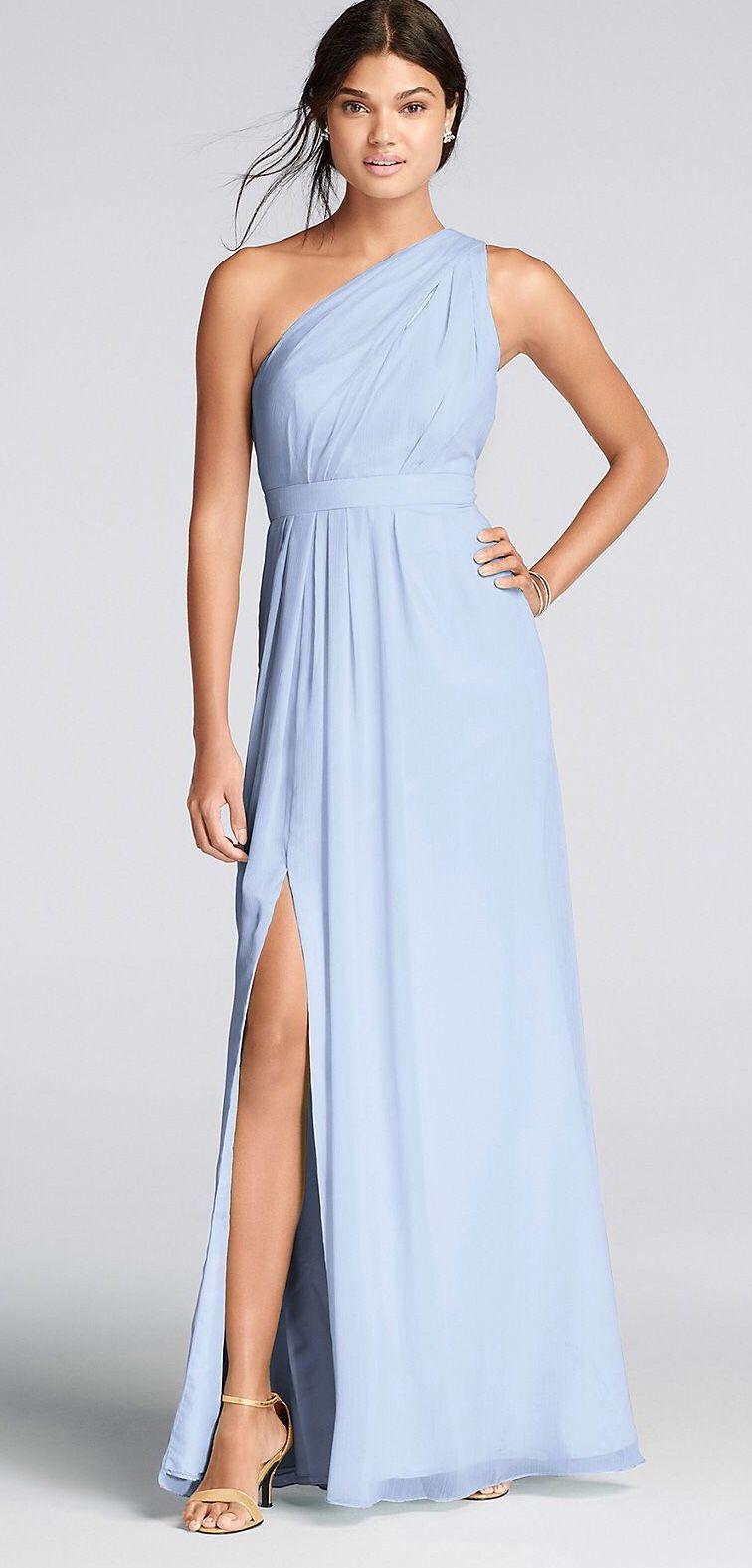 David's Bridal Long one shoulder dress