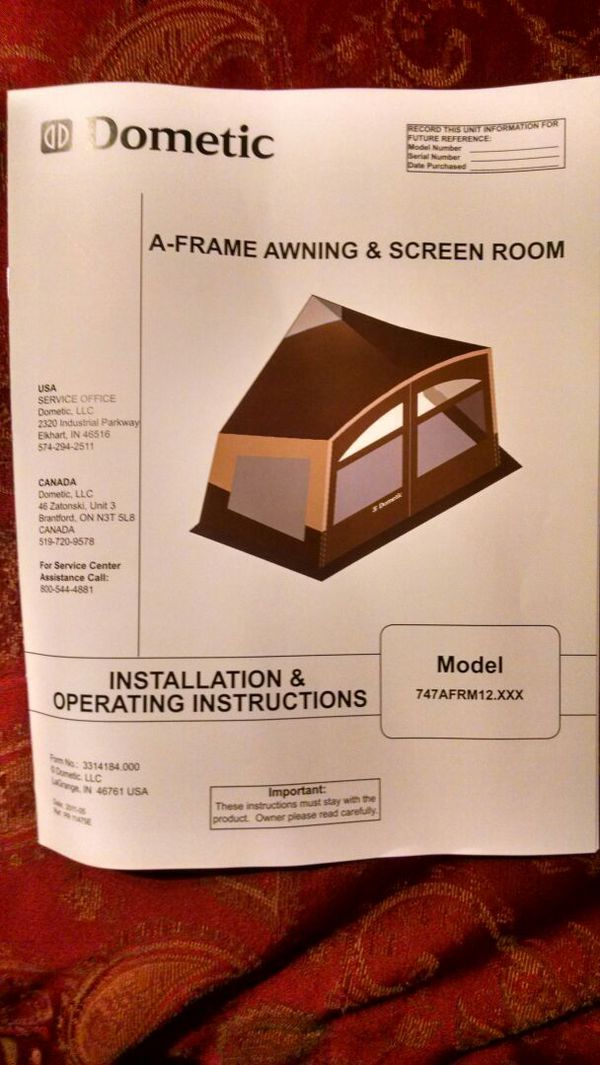 Dometic A frame awning & screen room for Sale in Glendale ...