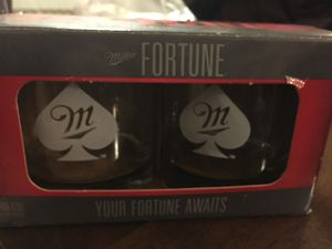 Miller beer fortune Etches glasses set of 2 for Sale in Chicago, IL