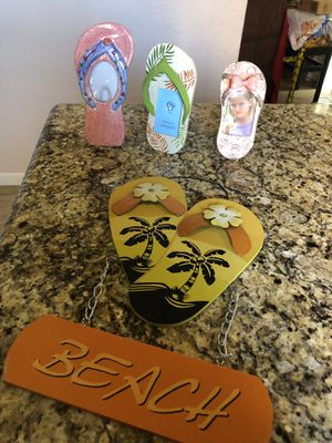 Hawaiian flip flop picture frames and decoration for Sale in Moreno Valley, CA