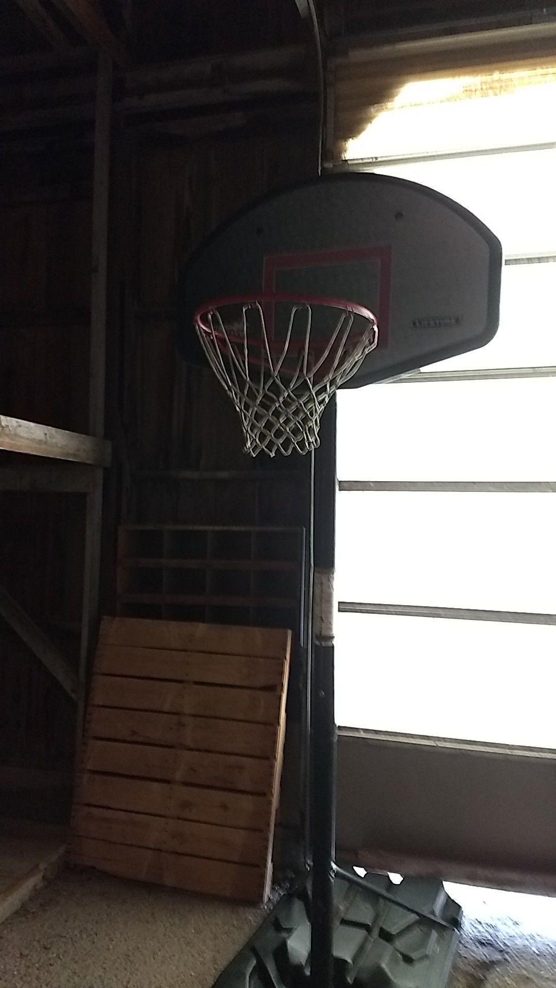 Basketball hoop and pole lifetime.