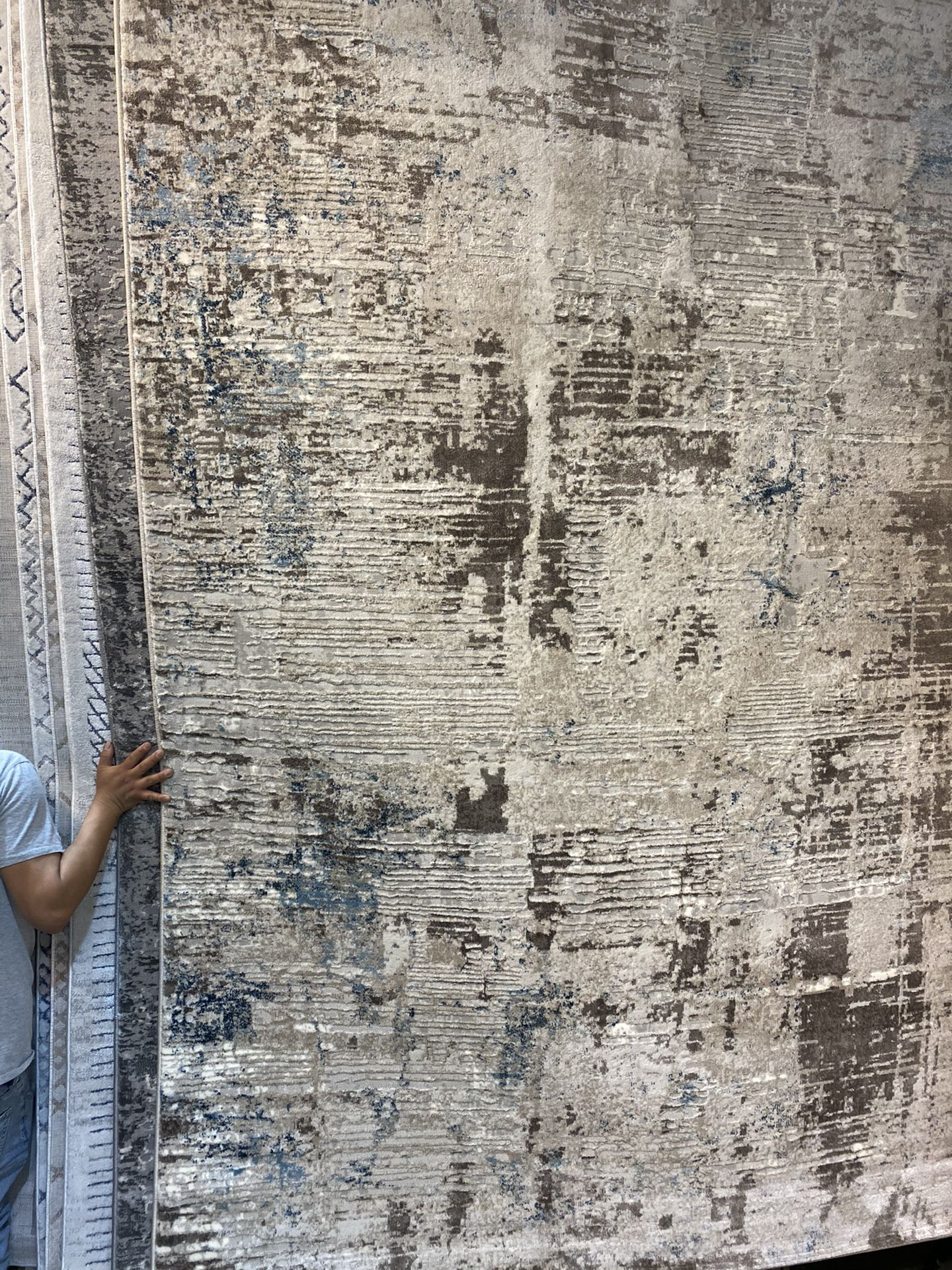 8x10 Area Rugs Carpet Rugs Abstract Modern Design Super Thick Tight Pile Colors Beige Gray Gold Rust