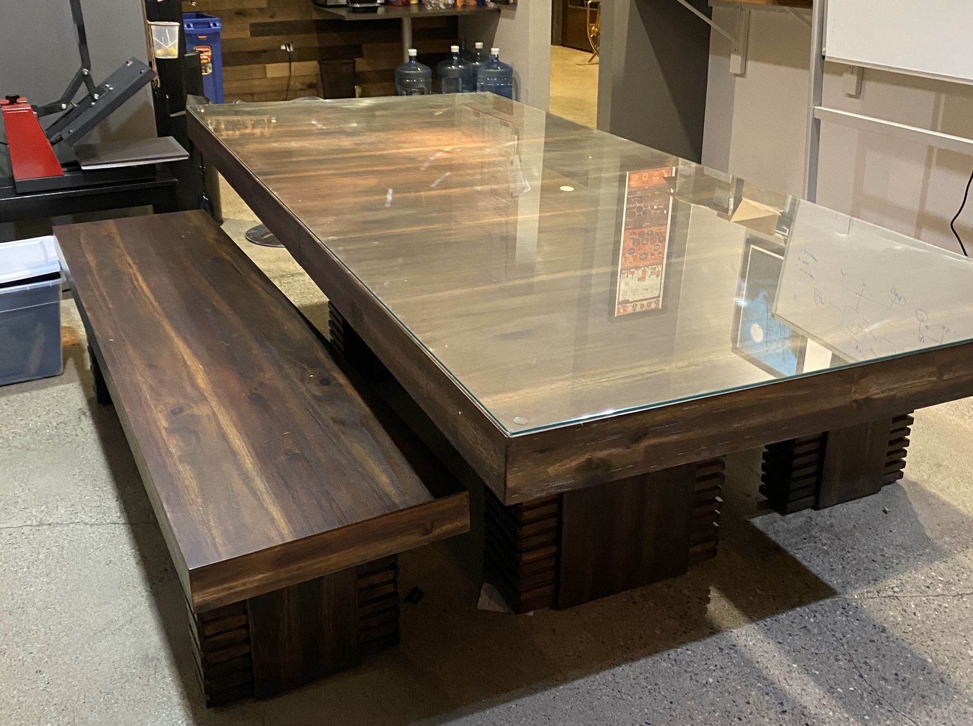 custom wood table with benches
