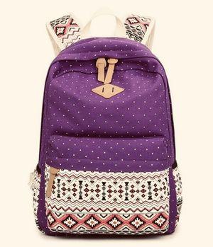 Tinpia Womens Vintage School Bags for Teenagers Girls Schoolbag Large Capacity Lady Canvas Dot Printing Backpack Rucksack Bagpack Bookbag - Purple for Sale in Kansas City, MO