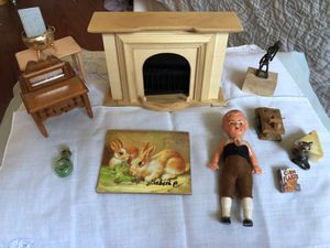 Dollhouse furniture, wood fireplace, antique German Doll LOTs of misc for Sale in Wheaton, IL
