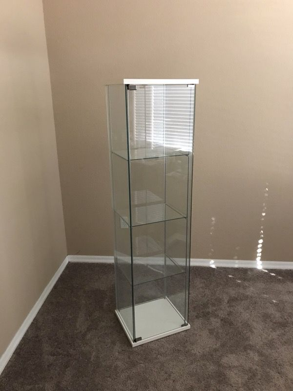Ikea Detolf Glass Door Cabinet Display Case White For Sale In