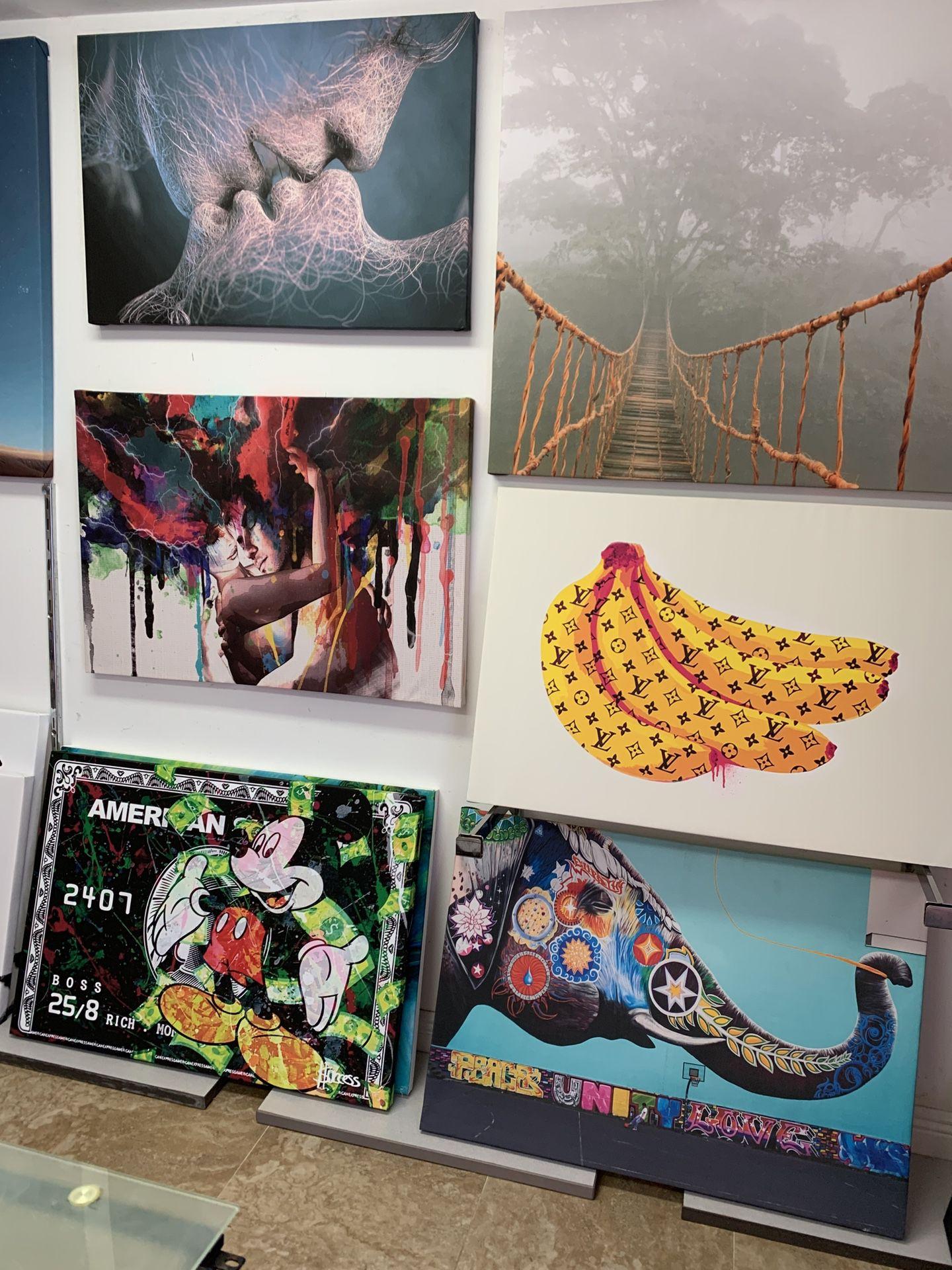 Designer Bananas Pop Art Canvas Picture 40 Inch By 30 Inch
