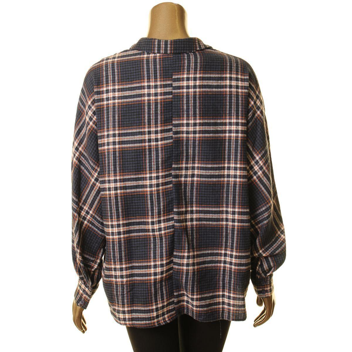 LUSH Women's Check Blouse Shirt Top Navy/rust Size M