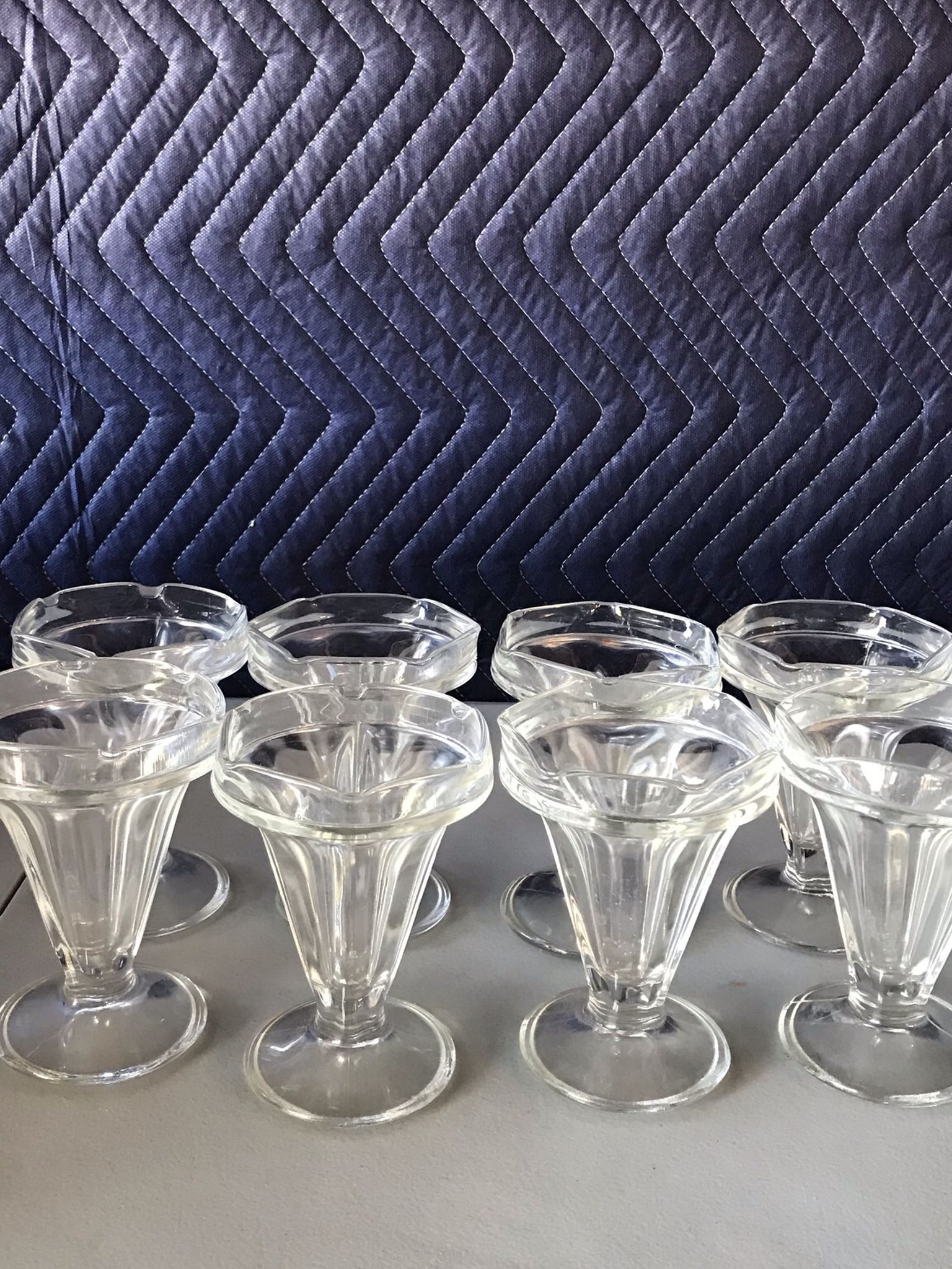 8 Vintage Ice Cream Glasses