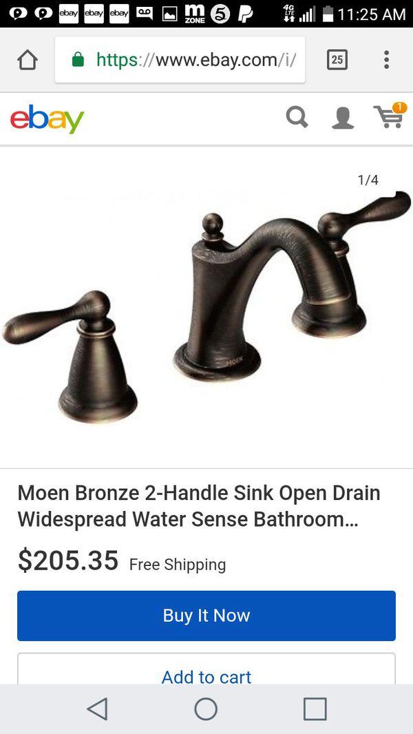 Moen WS84440BRB Two-Handle High Arc Bathroom Faucet, Mediterranean ...