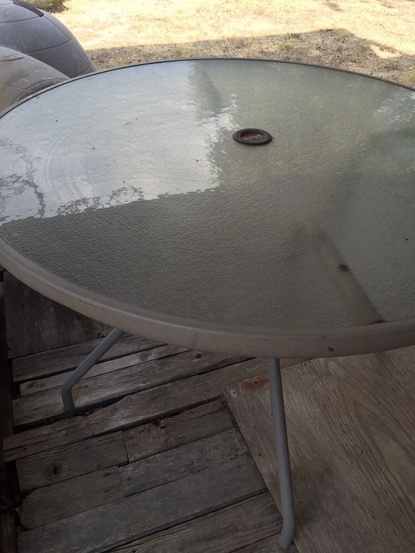 Patio Glass Table Ready To Insert Your Umbrellas 38 00